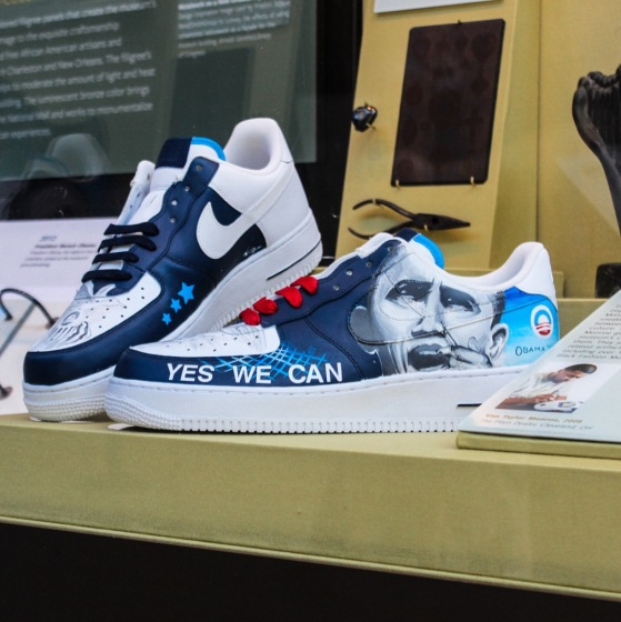 """Obama 08""sneaker exhibit at NMAAHC"